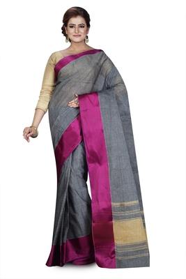 Grey plain cotton saree without blouse