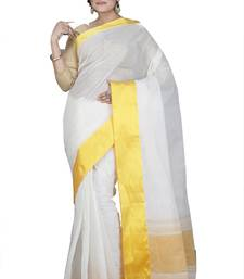 White plain cotton saree without blouse