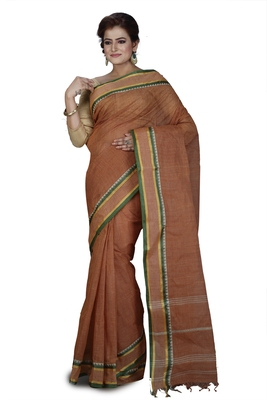 Brown plain cotton saree without blouse