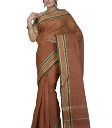 Brown plain cotton saree without blouse