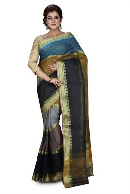 Multicolor plain cotton saree without blouse