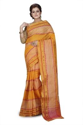 Yellow plain cotton saree without blouse