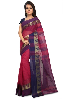 Pink plain cotton saree without blouse