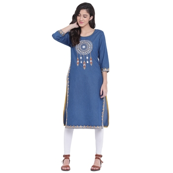 Blue embroidered cotton kurtas