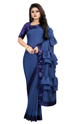 Navy blue plain faux art silk ruffle saree with blouse