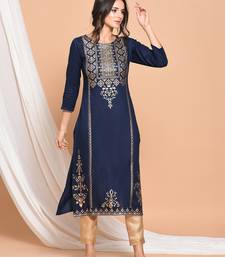 Blue printed rayon kurtas and kurtis