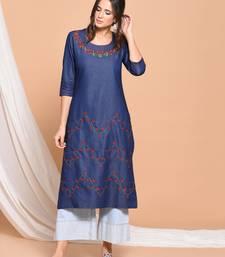 Blue embroidered cotton  kurti