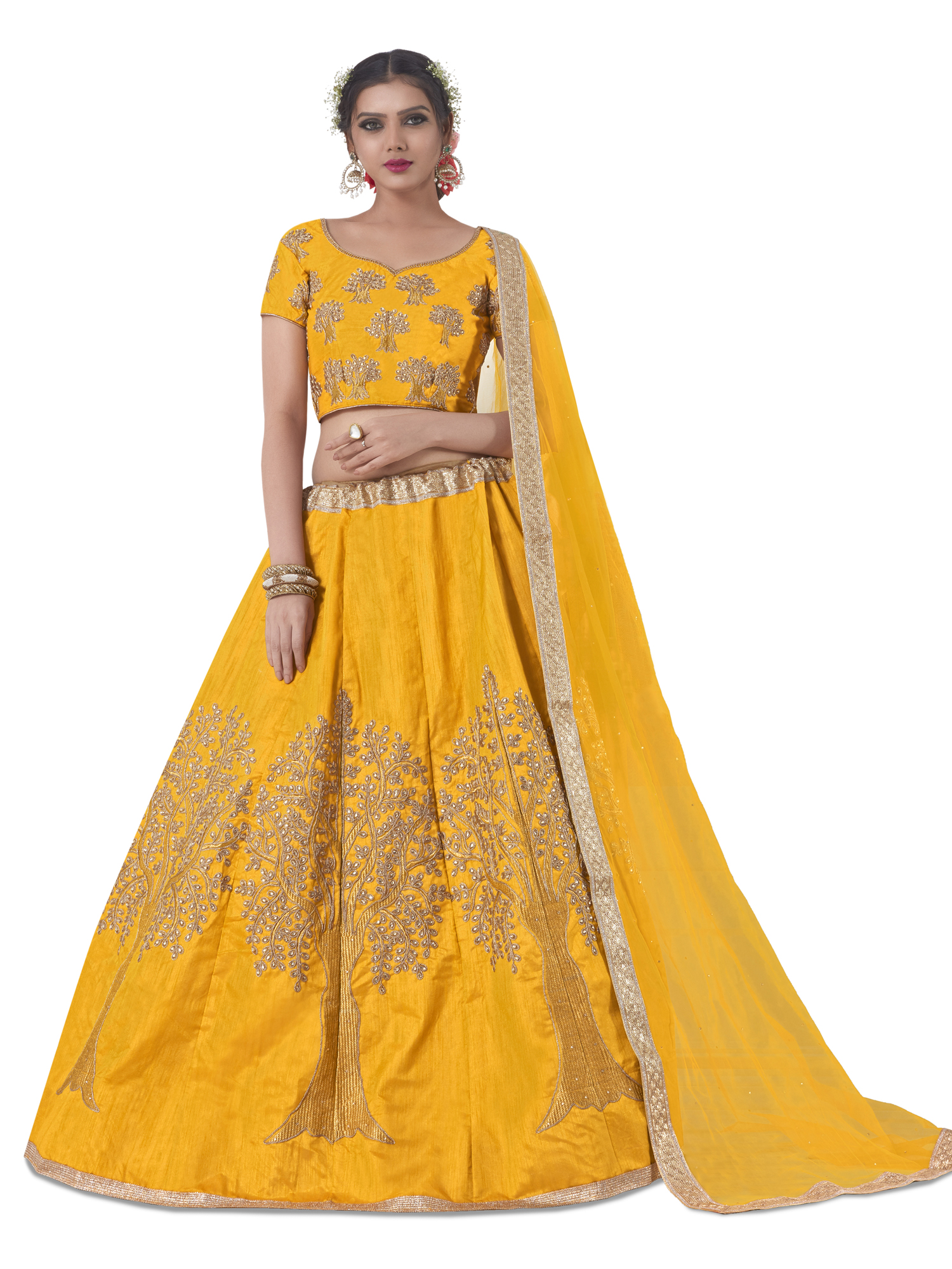 1745c8d9d2 yellow embroidered silk lehenga with dupatta - AASVAA FASHION - 2823518