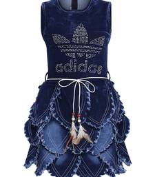 Blue Embroidered Cotton Kids-Frocks