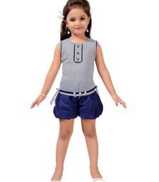 Blue printed nylon kids-tops