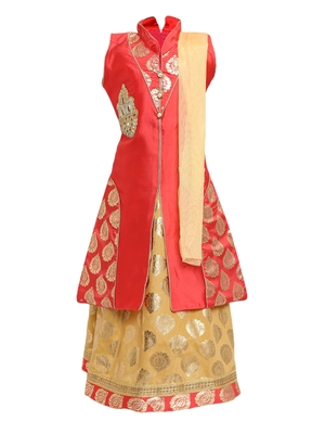 Cream Embroidered Art Silk Stitched Lehenga