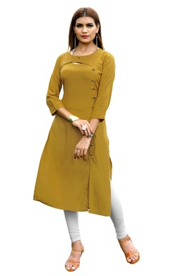 Yellow plain rayon kurti