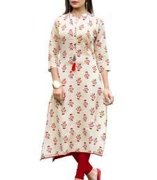 Off-white printed cotton kurti