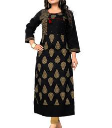 Black printed rayon kurti