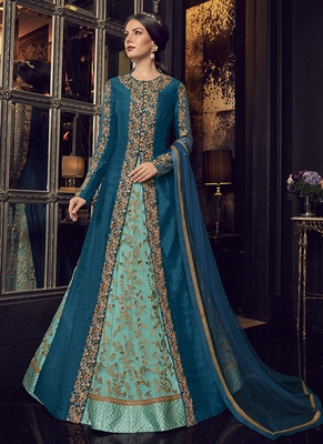 Sea-green embroidered silk anarkali with dupatta
