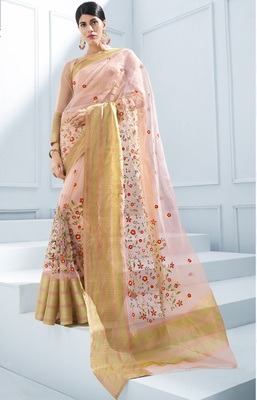 Peach embroidered tissue saree with blouse