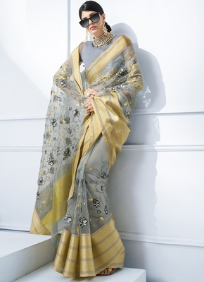 Grey embroidered tissue saree with blouse