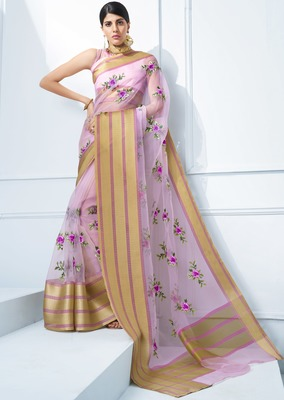 Purple embroidered tissue saree with blouse