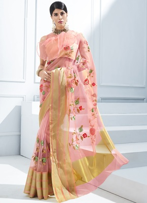 Pink embroidered tissue saree with blouse
