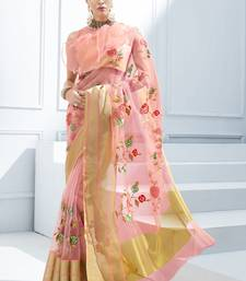 Pink embroidered tissue saree with blouse tissue-saree