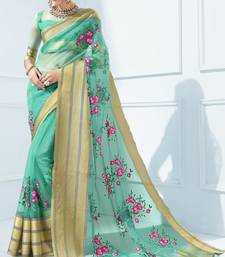 Green embroidered tissue saree with blouse tissue-saree