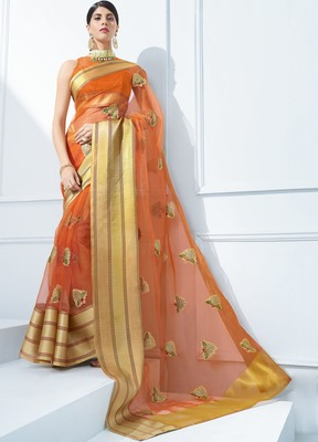Brown embroidered tissue saree with blouse