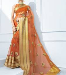 Brown embroidered tissue saree with blouse tissue-saree