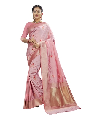 Pink woven banarasi and jacquard saree with blouse