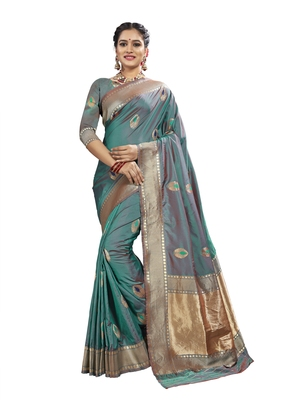 Green woven banarasi and jacquard saree with blouse