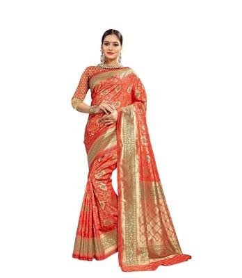 Orange woven banarasi and jacquard saree with blouse