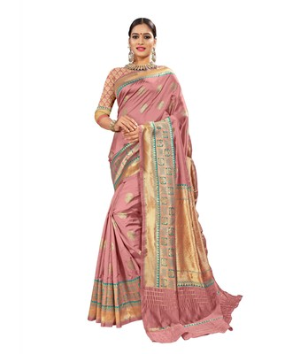 Pink woven banarasi and jacquard saree with blouse