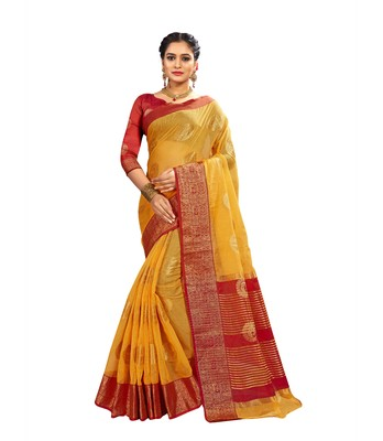 Yellow woven banarasi and jacquard saree with blouse