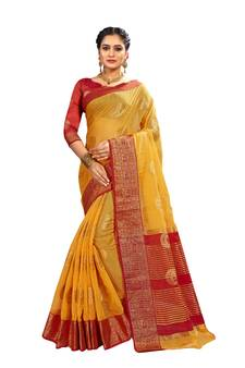 d62ea343e46d99 Yellow woven banarasi and jacquard saree with blouse