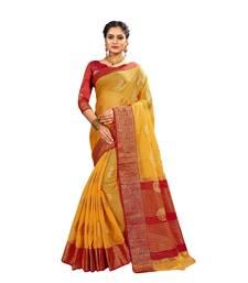 Yellow woven banarasi and jacquard saree with blouse