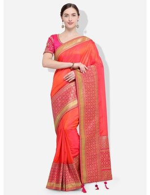 Orange and pink woven silk blend saree with blouse