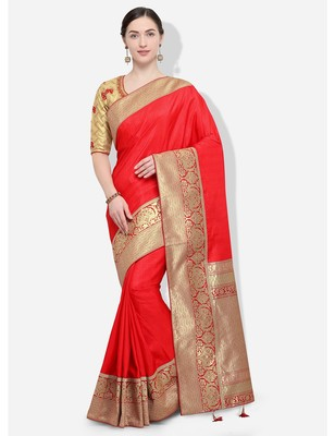Red and gold woven silk blend saree with blouse