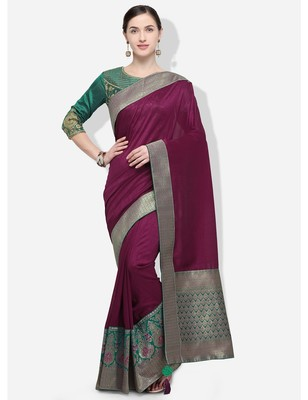 Wine woven silk blend saree with blouse