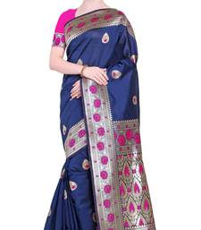 Navy blue woven poly silk saree with blouse