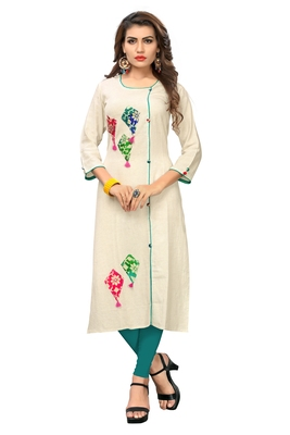 Off-white hand woven cotton kurti