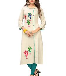 Off-white hand woven cotton kurti