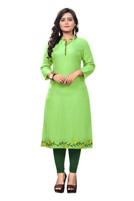 Light-green embroidered rayon kurti