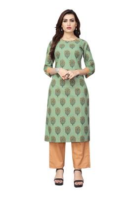 Light-green printed cotton kurti