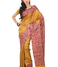 Buy Red  -  Gold Printed silk saree with blouse silk-saree online