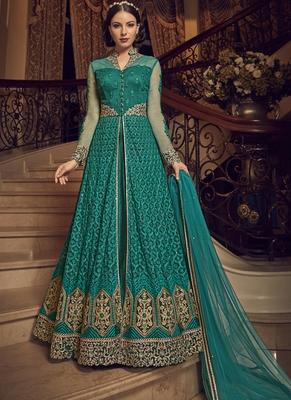 Dark-green embroidered net salwar with dupatta