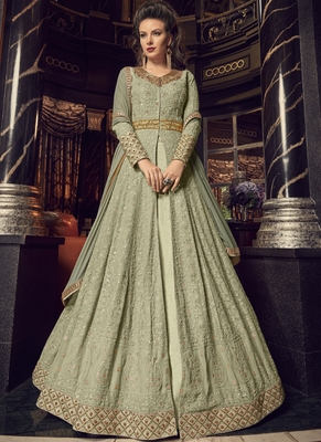 Sea-green embroidered georgette salwar with dupatta
