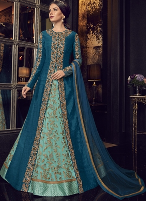 Blue Embroidered Tussar Silk Salwar With Dupatta