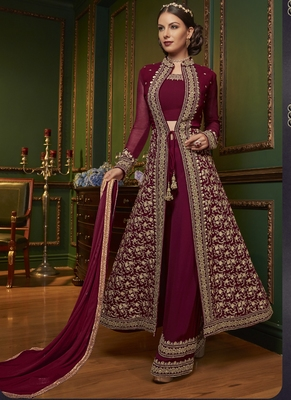 Violet embroidered georgette salwar with dupatta