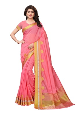 Pink solid cotton silk saree with blouse