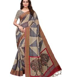 Beige & grey printed polyester linen saree with blouse