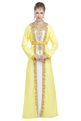 Georgette Yellow Embroidered Stone Work Jacket And Belt